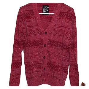 Burgundy/red vintage printed cardigan